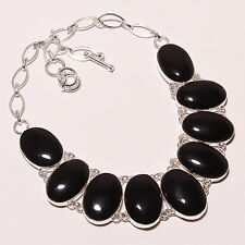 NECKLACE BEAUTIFUL SILVER 925 WITH STONES ONYX