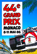 1986 44th Monaco Grand Prix Automobile Race Car Advertisement Vintage Poster