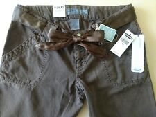 Old Navy XS Maternity brown stretchy jeans with ribbon tie belt new with tags