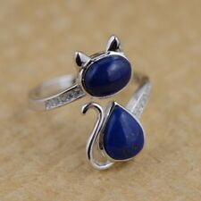 925 Sterling Silver &Natural lapis lazuli cute cat ring rings jewelry S748