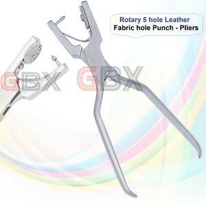 Rotary 5 hole Leather fabric hole punch 0.8, 1, 1.2, 1.5 and 2 mm punches plier