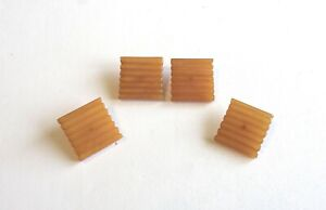 """Vintage 4 Carved 1"""" Sq Butterscotch Bakelite Sewing Buttons"""