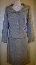 Danny & Nicole beige / brown paisley 2 piece skirt blazer set womens 8 P New