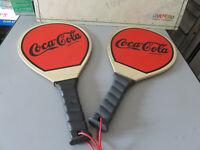 Raquettes De Plage en Bois Coca Cola Vintage