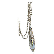 Clear Icicle Crystal Filigree Pendant Necklace