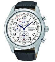 Seiko Men's SPC131P1 Neo Classic Alarm Perpetual Chronograph White Dial Black...