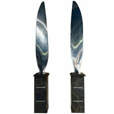 Pair Of Tall Polished Chrome Airplane Propeller Blades Sculptures