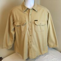 Woolrich Mens Expedition Chamois Flannel Shirt Tan Light Brown Large Free Ship!