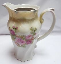 "Germany Decorative Pitcher Rose/Roses Floral Porcelain 8"" Tall 32oz"