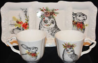 Tabletops Unlimited Furry Christmas Reindeer Stag Rabbit Owl Plates Mugs NEW