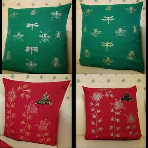 """Hand painted Bumble Bee Red Green Cushion Cover Home Decor Christmas Gift 15"""""""