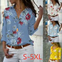 Women Loose Floral Blouse Tops Ladies Long Sleeve Button Down T Shirt Plus Size