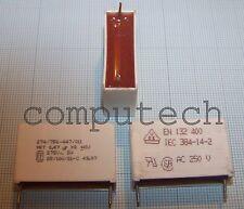 470nF 0,47uF x 275VAc MKT x 2 SH 25/100/21-C Condensatore Poliestere 1 pezzo