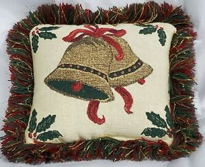 """CHRISTMAS THROW PILLOW 7"""" tapestry gold bell red & green fringe Riverdale USA"""