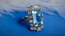 Rare 6.0 Ct Diamond Vintage Antique Engagement Deco Aquamarine Ring Era 1905's