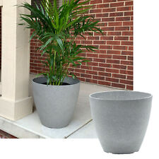 15-inch Grey Faux Stone Round Resin Garden Planter Flower Pot - 1 or 2 Pack