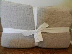 New Pottery Barn Belgian Flax Linen Handcrafted king quilt  Eucalyptus