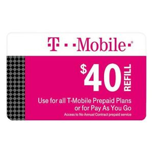 T-Mobile Prepaid $40 Refill Top-Up Prepaid Card  AIR TIME PIN RECHARGE