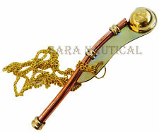 Brass Nautical Police Whistle Key chain Nautical Pipes Marine Neck Key chain gif