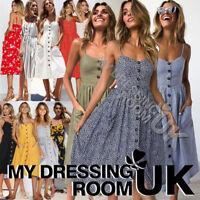 UK Womens Summer Party Button Through Ladies Long Smock Midi Sundress Size 6-20