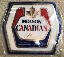 """VINTAGE BAR LIQUOR 13 3/4"""" X 12"""" MOLSON CANADIAN BEER CARDBOARD SIGN-NIP"""