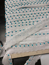 "1"" Wide Beaded White Cotton Eyelet Embroidered Lace Trim with Turquoise Beads"