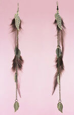 F1958F Brown Feather Earrings Chain Leaf Eardrop Fashion Handmade Jewelry