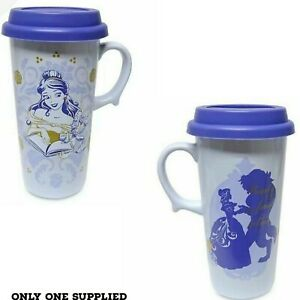 Disney Beauty And The Beast Princess Belle Stoneware Travel Mug Silicone Lid New