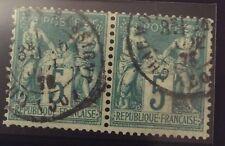 France N° 64 5 c Vert Oblitéré En Paire TB Qualité Cote 135€