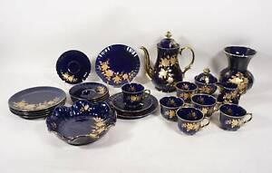 Wunsiedel Bavaria Echt Kobalt 6 Personen Kaffeeservice + Gebäckschale und Vase