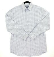 RM Williams Stockyard Men's Size Small White Blue Check Plaid Long Sleeve Shirt