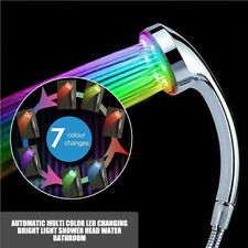 UK Automatic Multi Color LED Changing Bright Light Shower Head Water Bathroom