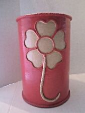 "Paper Mache Waste Can. 1960s Flower Power. HOT PINK. 13"" TALL. Vintage"