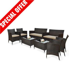 New 8PCS Rattan Patio Furniture Set Cushioned Sofa Garden Coffee Table Xmas Sale