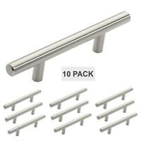 "Satin Nickel Cabinet Hardware Euro Style Bar Handle Pull - 3"" Hole 5-3/4"" 10 Pcs"