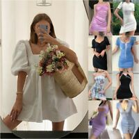 UK Women Casual Mini Dress Party Cocktail Holiday Beach Fashion Dresses Sundress