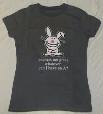 HAPPY BUNNY JUNIORS T-SHIRT SMALL MEDIUM 7/9 TEACHERS ARE GREAT WHATEVER CAN I A