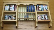 1/12th Scale Dolls House Pine Kitchen Wall Plate Rack & Accessories