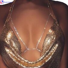 Womens Body Chain Crystal Harness Crossover Bikini Lace Up Bra Pendant Necklace