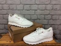 REEBOK CLASSIC WHITE LEATHER TRAINERS CHILDRENS GIRLS BOYS RRP £45 MANY SIZES EP