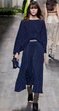 RARE VIONNET PARIS 2014 RUNWAY NAVY BLUE PLEATED DRESS SIZE 38