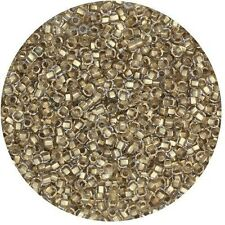 Czech Glass Seed Beads Size 11/0 Lined Gold Crystal