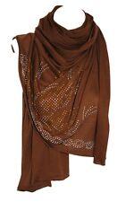Brown Jersey Diamante Stretchable Scarf Wrap Shawl Stole Hijab Head Scarf
