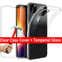 For iPhone 11 / 11 Pro MAX 2019 Clear Gel Case + Tempered Glass Screen Protector