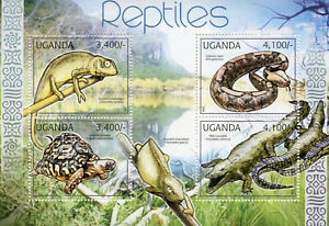Uganda Reptiles Stamps 2012 MNH Chameleons Crocodiles Snakes Turtles 4v M/S