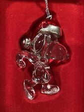 Bnib Lenox Snoopy Full Lead Crystal Glass Ornament-Santa Hat