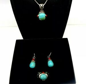 Southwestern Set Necklace Earrings Ring Sz 5 Turquoise Coral 925 Signed