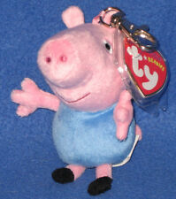 TY GEORGE (PEPPA PIG) the PIG KEY CLIP BEANIE BABY - UK EXCLUSIVE - MINT TAGS