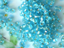 #A16 Vintage Glass Beads Blue Fire Polished 4mm Tiny Small NOS Shabby Cottage