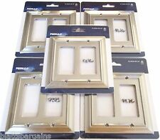 5 PEERLESS SATIN NICKEL WALL PLATE GFCI ROCKER SWITCH OUTLET COVER DOUBLE W10536